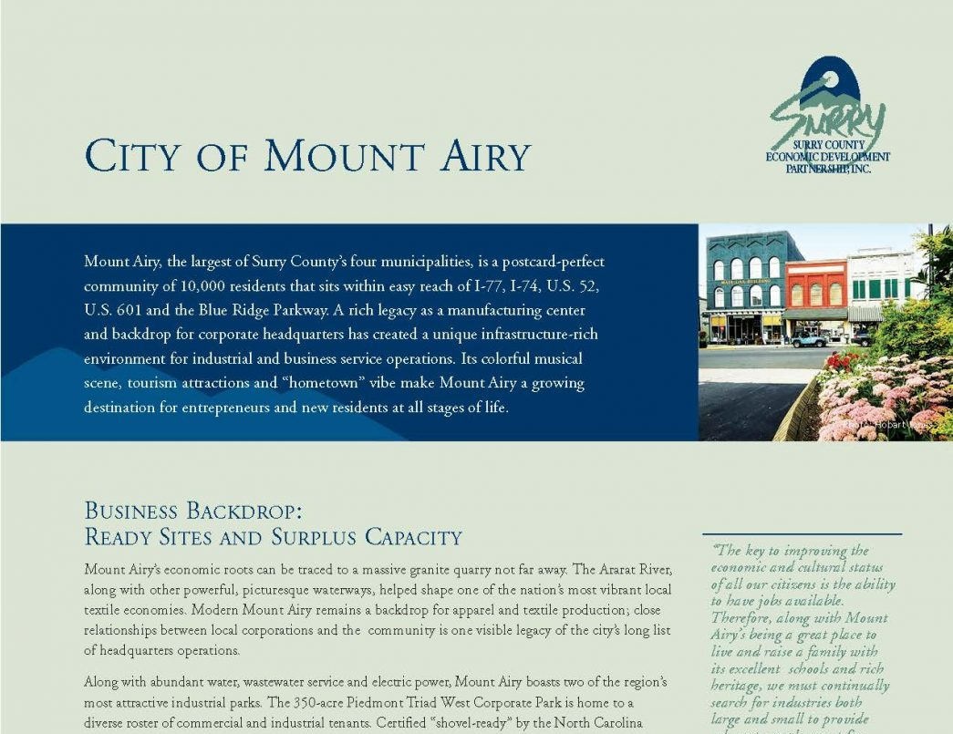 Mount Airy Brochure